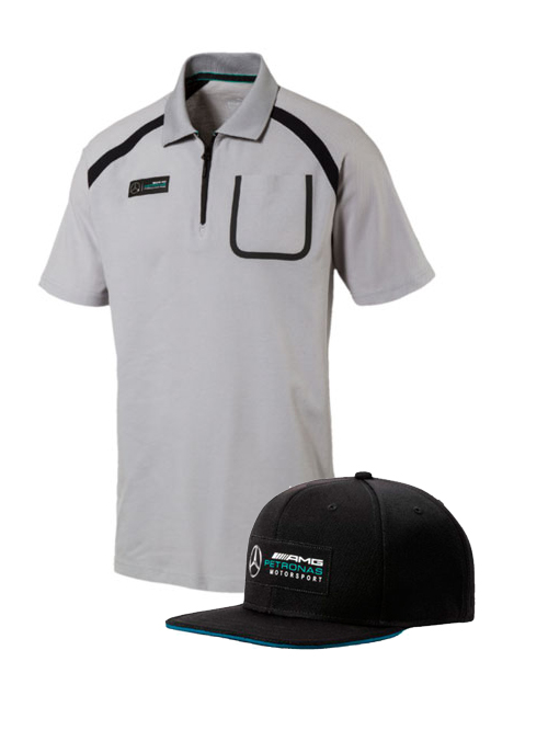 MERCEDES-AMG-PETRONAS-POLO-FLAT-PEAK-CAP-BUNDLE
