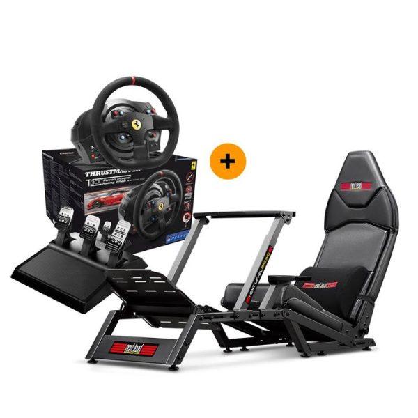 Next Level Racing F-GT Formula & GT Simulator Cockpit + Thrustmaster T300 Ferrari Integral Racing Wheel Alcantara Edition – image 1